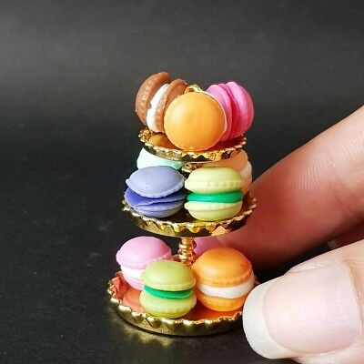Cup Cake Stand Gold Metal Dollhouse Miniature Food Bakery Barbie Supply Decor