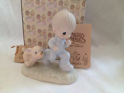 Precious Moments ~ God's Speed ~ E-3112 ~ Boy Running with Puppy ~ MIB