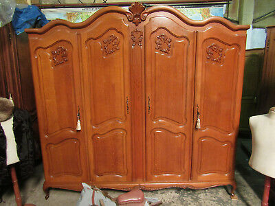 Bow top French carved oak Louis armoire,Shelves,wardrobe,Flat packs