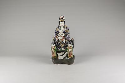 Large Antique 19thC Japanese Meiji Kutani Porcelain Guanyin Kannon Figure Dragon