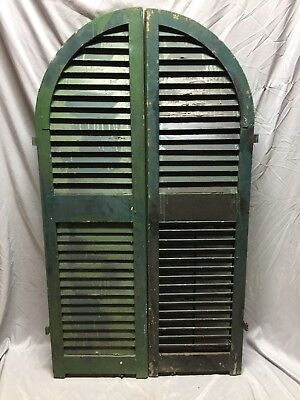 Antique Pair Arched Dome Top Wood Louvered Window Shutters 15X54 Old Vtg 563-18C