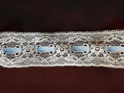 """Interesting Vintage LACE INSERTION with a blue ribbon 111"""" by 1 1/2"""""""