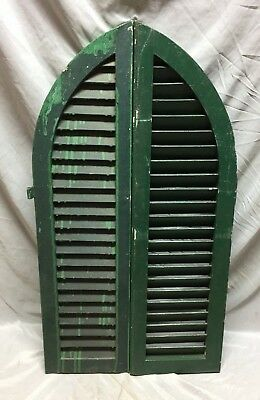 Antique Pair Arched Dome Top Wood Louvered Window Shutters 11X39 Old Vtg 565-18C