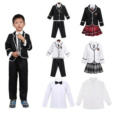 British Style Boys/Girl School Uniform Outfit Costume Coat Shirt Tie Pants/Skirt