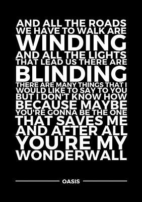 Wonderwall Lyrics Oasis Typography Poster  A4 260Gsm Print Art
