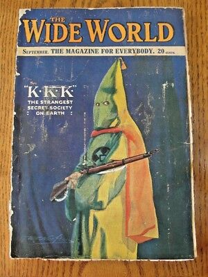 The Wide World Magazine with Cover Story of The Ku Klux Klan Sept 1921 Issue