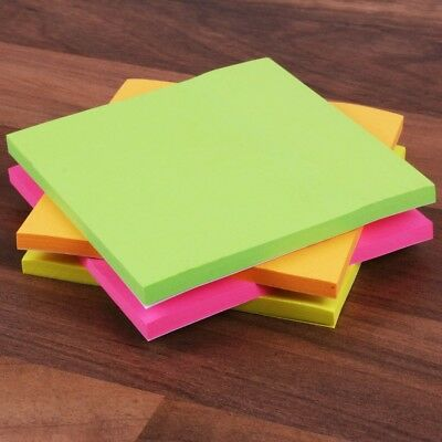8x FLUORESCENT STICKY NOTE PADS Neon Yellow Green Orange Pink Memo Sheets Office