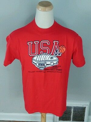 Mint 80's Vtg 1984 USA Basketball Indianapolis Hoosier Dome T Shirt XL/L