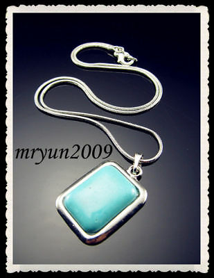 """FREE chain Silver Clasp Rectangle snake 18KGP Necklace 16.5"""" plated Turquoise"""
