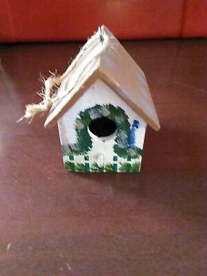 Wooden Bird House Decorative Inside Table Top Piece Hand Painted
