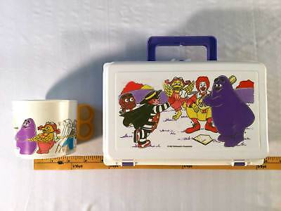 McDonalds  Vintage 1987 Plastic Lunchbox And Cup Purple Ronalds & Friends