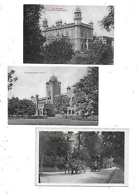 LAHORE India 2 Early Postcard Christian CollegeBengal Bank & An unidentified RP