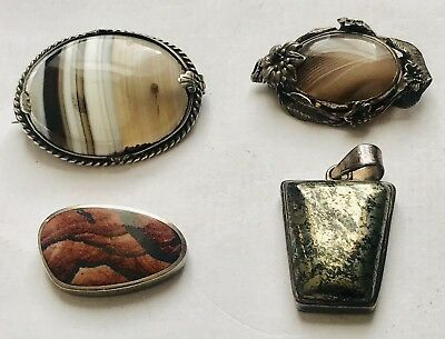 Collection Of Silver Antique/vintage Brooches X2 & X2 Pendants Various Agate?etc