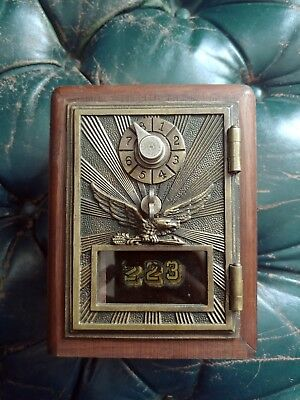 Vintage Post Office Mail Box Door Wooden COIN BANK Flying Eagle