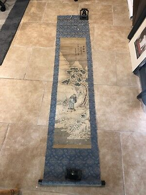 Antique Japanese Scroll - Painted Winter Man Woman Tree Signed