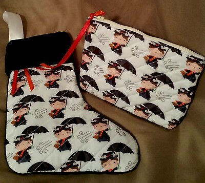 Mary Poppins Quilted Christmas Stocking & Quilted Mary Poppins Pouch