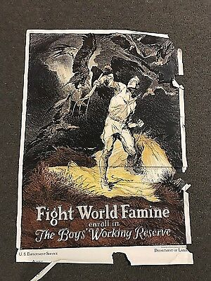 Original WWI Fight World Famine Dept of Labor Poster