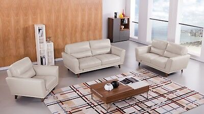 Fabulous 3 Pc Modern Light Gray Italian Leather Sofa Loveseat Chair Inzonedesignstudio Interior Chair Design Inzonedesignstudiocom
