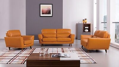3 PC MODERN Orange Italian Leather Sofa Loveseat Chair Living Room Couch Set