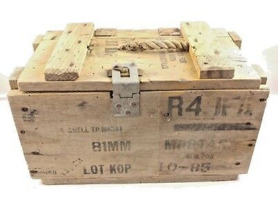 Vintage Pre Vietnam Us Army 81Mm Wooden Ammunition Ammo Crate Wood Mortars