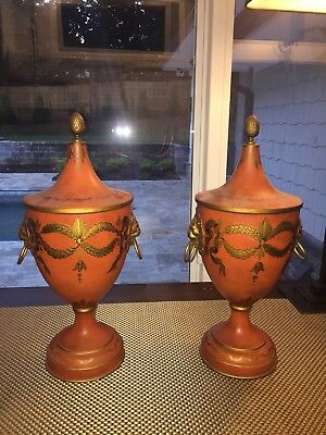 Pair Of Antique French Toleware Chestnut Urns Signed w/ Gilt Lions