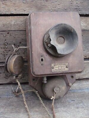 Antique Hunningscone Patent Wall Telephone Transmitter & Receiver - Victorian