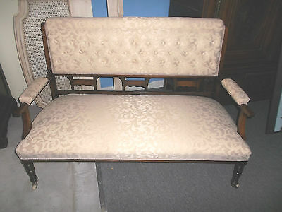 Antique Rose Wood  Settee or Love Seat With Marquetry Made in England has Fabric