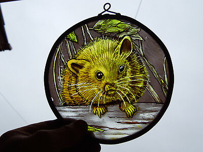 Interesting Stained Glass Mouse Medieval Victorian Style