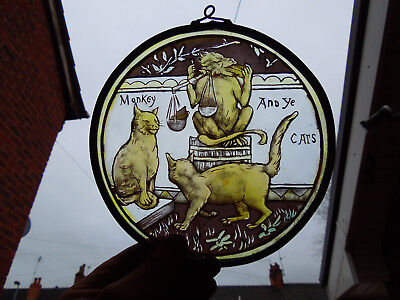 Interesting Stained Glass Monkey And Cats Medieval Victorian Style