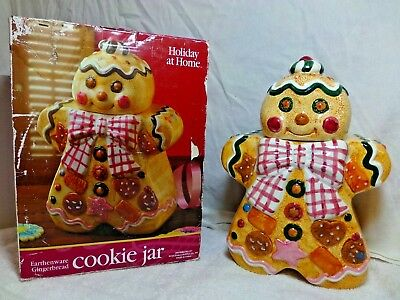 Vintage Holiday at Home Earthenware GINGERBREAD MAN Cookie Jar Canister NIB 1995