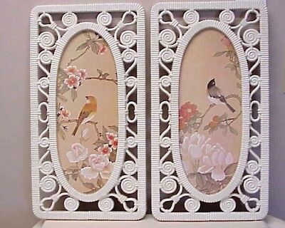 Vintage Syroco Faux Wicker Rattan Framed Pictures Birds Flowers (2) Off-White