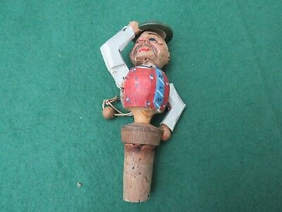 Vintage German Wooden Bottle Stopper With Movable Arm