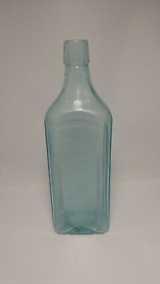 "Scott's Emulsion Cod Liver Oil Aqua Glass Bottle With Lime & Soda - 9 3/8"" Tall"