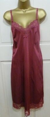 Vintage 70S Made In Britain Wine Silky Nylon Full Slip Beautiful Lace Size 12-14