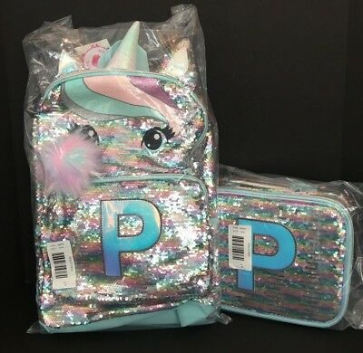 Justice Pastel Unicorn Flip Sequin Backpack & Lunch Tote Initial P NEW