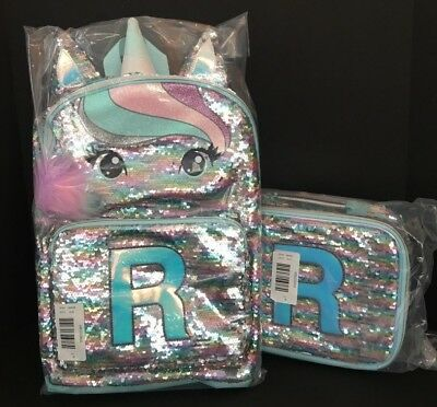 Justice Pastel Unicorn Flip Sequin Backpack & Lunch Tote Initial R NEW
