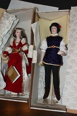 Franklin Mint Romeo & Juliet Fine Bisque Porcelain Dolls NIB COA Lot of 2 Vtg