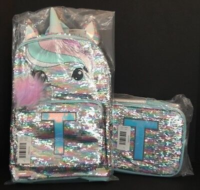 Justice Pastel Unicorn Flip Sequin Backpack & Lunch Tote Initial T NEW