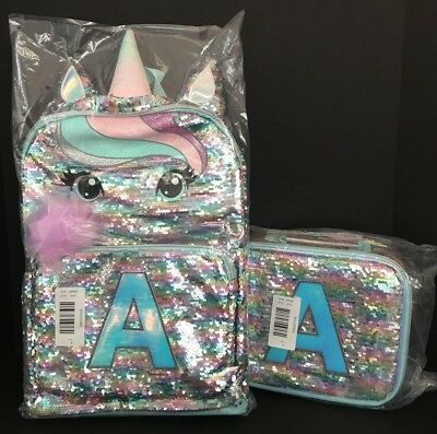 Justice Pastel Unicorn Flip Sequin Backpack & Lunch Tote Initial A NEW