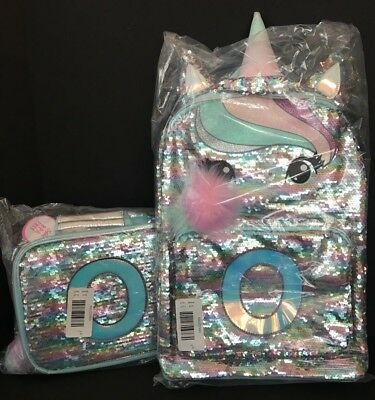 Justice Pastel Unicorn Flip Sequin Backpack & Lunch Tote Initial O NEW