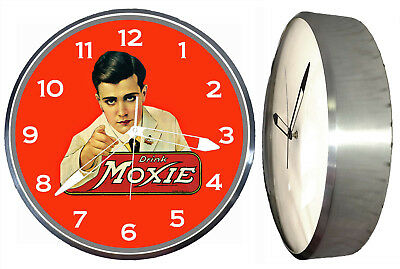 "Drink Moxie 15"" Retro Style Pam Advertising Clock LED Back lighted Soda Pop"