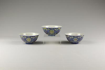 Set Of 3 Very Fine Antique 19/20thC Chinese Late Qing Guangxu Porcelain Bowls