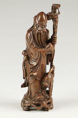 Very Fine Large 19/20thC Qing Chinese Hardwood Carved Shou Lao Sculpture Figure