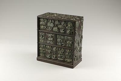 19thC Japanese Meiji Wooden Cabinet with Applied Menuki Katana Handle Ornaments