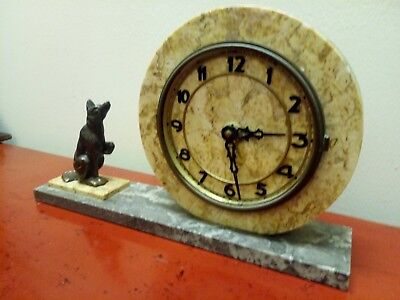 Antique French Art Deco Marble Mantel Clock With Dog Figure