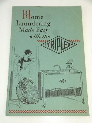 VTG 1929 Home Laundering Made Easy Manual from Triplex Washing Machines Chicago