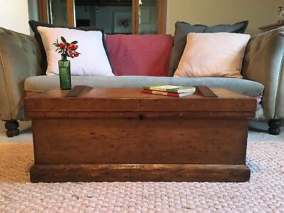 Old ANTIQUE PINE CHEST, Wooden Blanket TRUNK, Coffee TABLE, Vintage BOX, Storage