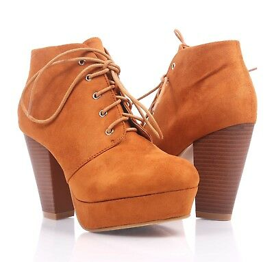 1cf1b1ad4215 Tan Color Faux Suede Lace Up Cuban High Heel Booties Women Ankle Boots Size  8