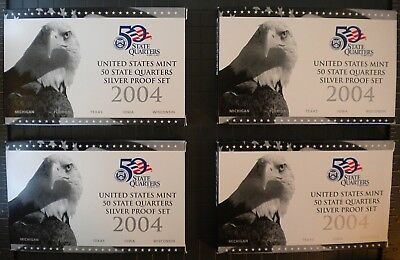 Us Mint 2004 United States Mint 50 State Quarters Silver Proof Set 2004 Lot Of 4