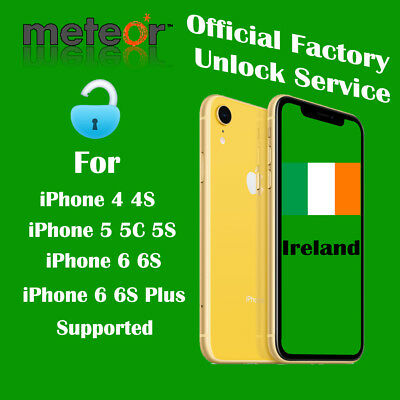 Official Permanent Factory Unlock Service for iPhone 4 4S 5 5S 6 Meteor Ireland